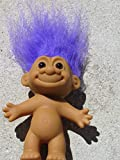 Troll Doll Naked with Purple Hair by Russ 3.25' tall