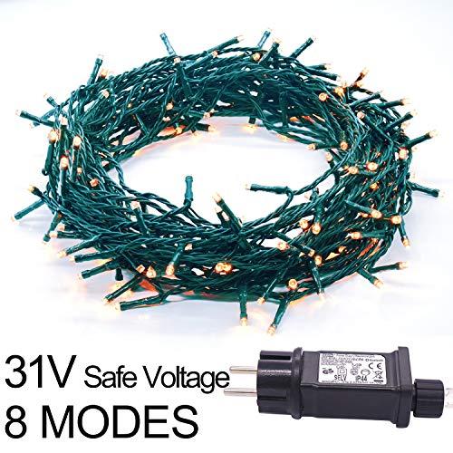 100LED 49.2ft wasserdicht Fairy String Lights Weihnachtsbeleuchtung Green Wire Plug in 8 Modi für Hausgarten Hochzeitsschlafzimmer Indoor Outdoor Wanddekoration (100LED, warmweiß, grüner Draht)
