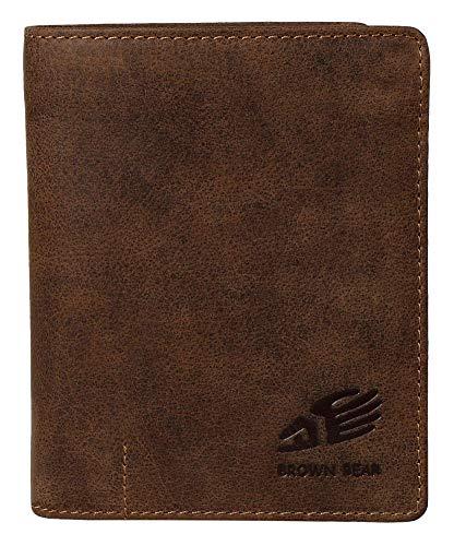 Brown Bear Unisex Geldbörse Damen Herren Leder Braun Vintage Hochformat RFID Schutz viele Fächer Used Look hochwertig Echtleder BB Design Portemonnaie Geldbeutel Portmonee BB IBP 2051 br