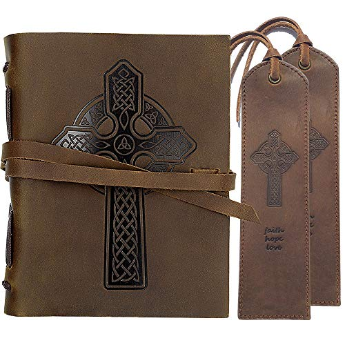 Leather Journal Celtic Cross Notebook Embossed Handmade Travel Diary A5 8x6' + 2 Pack Matching Leather Bookmarks - Perfect for Men Women and Kids | Leather Gifts for Bookworms Writers and Friends
