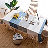 MCZ Waschbare rechteckige Leinentischdecke, Tischdecke mit Fransen, Staubschutz aus dickem Baumwollstoff, Küchenbesteck, Küchentischdekoration (Weiß + Grau + Blau, 85 * 85 cm)