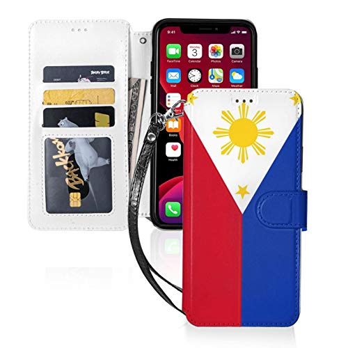 Filipino Flag Wallet Case for iPhone 11 Pro-5.8, Premium Pu Leather Cover TPU Shockproof Protective Case with Cash Card Slots, Kickstand Flip, Magnetic Closure