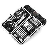 LONGLING Set de manicura Kit Profesional de cortaúñas Kit de pedicura 18 Piezas Kit de Aseo de Acero Inoxidable Herramientas para el Cuidado de Las uñas con Estuche de Viaje de Cuero Lujoso(Black)