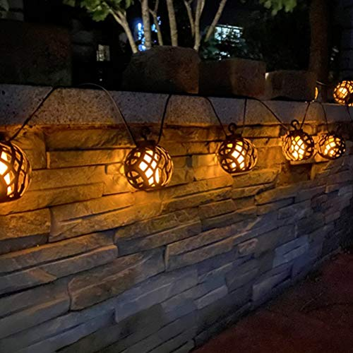 Gazaar Outdoor Solar String Lights, 8 LED Solar Flickering Effect Flame Bulb Waterproof Lantern for Garden Parties Decorations Solar Tree Lights