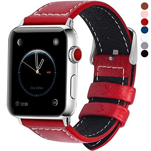 Fullmosa Cinturino per Apple Watch 44mm/42mm, Jan Cinturino in Pelle con Chiusura in Acciaio Inossidabile Compatibile con iWatch Serie 5 4 3 2 1, Rosso, 42mm/44mm