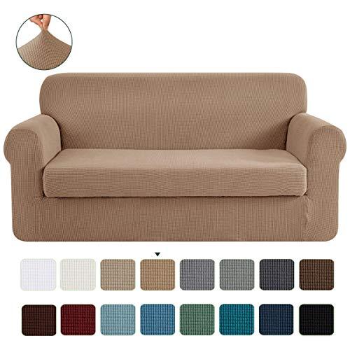 CHUN YI 2-Stück Jacquard Sofaüberwurf, Sofaüberzug, Sofahusse, Sofabezug für Sofa, Couch, Sessel, mehrere Farben (Kamel, 2-Sitzer)