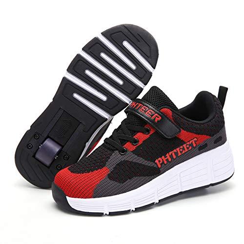 Zapato polea Niños Niñas Ruedas Individuales Zapatillas Deporte Que Brillan intensamente LED Velcro Zapatillas Skate Ruedas Carga USB Zapatos deformación gimnástica Zapatos Patinaje sobre Ruedas