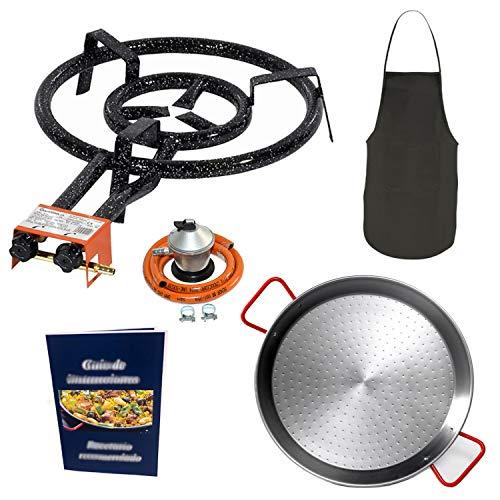 Makumba Kit Paellero 50 cm Gas butano Garcima, paellera de 60 cm, regulador de Gas + Manguera, delantal de cocina, guía de Instrucciones y recomendación de recetas.