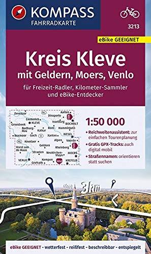 KOMPASS Fahrradkarte Kreis Kleve mit Geldern, Moers, Venlo 1:50.000, FK 3213: reiß- und wetterfest (KOMPASS-Fahrradkarten Deutschland, Band 3213)