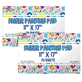 U.S Art Supply Large  Pack of 2 Pads  11  x 17  Finger Painting Paper Pad - 25 Sheets 60lb  100gsm  Acid Free