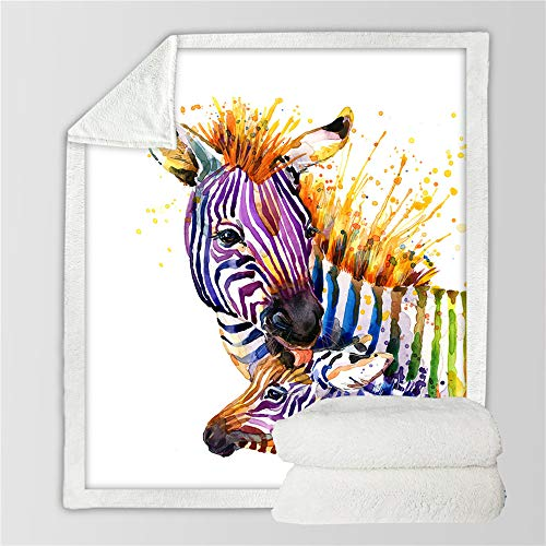 Wzz Manta Zebra Manta 3D Felpa Estampada Colcha Animal