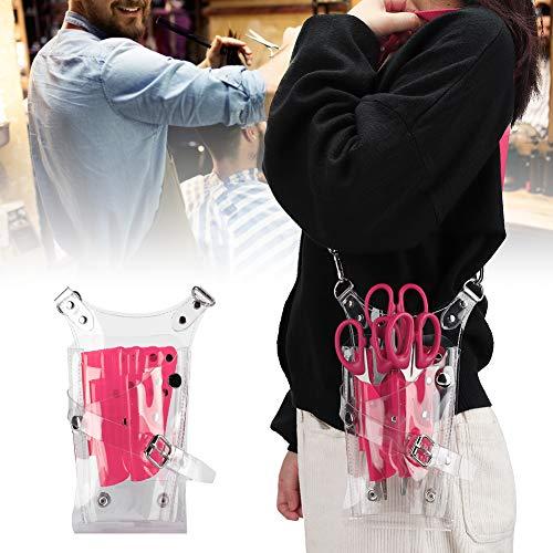 Tijeras transparentes de PVC para peluquería, bolsa de almacenamiento para accesorios de peluquería, bolsa de herramientas de peluquería (rosa) [rosa]