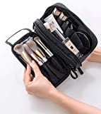 Makeup Brush Bag Organizer Portable Travel Cosmetic Bag Holder Case with Double Zipper Waterproof Dust-free Double Open Brush Storage for Women (Black)