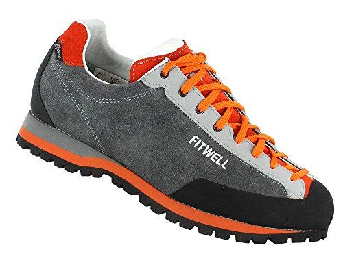 Fitwell wasserdichte Wanderhalbschuhe/Trekkingschuhe/Zustiegsschuhe Funky EV Herren mit Vibramsohle (UK 9,5 - EU 44, Grey-Orange)