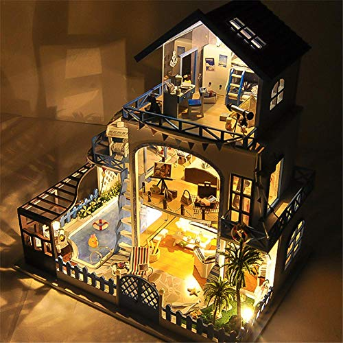casas miniaturas, Casa de muñecas de madera en miniatura con movimiento musical sin...