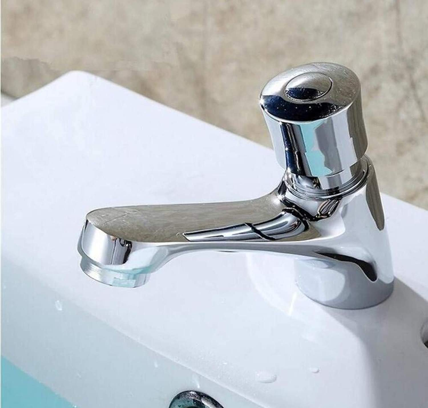 Brass Wall Faucet Chrome Brass Faucetwater Saving Tap for Public Toilet Metered Faucet
