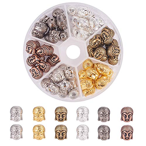 PH PandaHall 60pcs 6 Color Alloy Buddha Head Beads Charm Connector Beads for Bracelet Necklace Earrings Jewelry Making Crafts