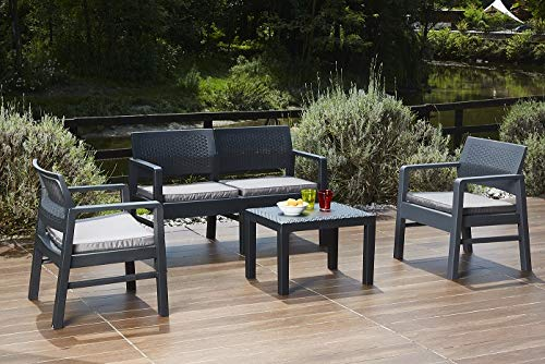Ipae Lounge Kilimanjaro Anthracite Set of 1 2 Seater Sofa + 2 Armchairs + Table with 4 Cushions