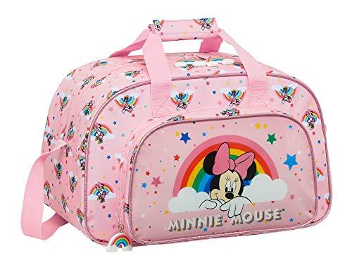 safta Bolsa de Deporte de Minnie Mouse Rainbow, 400x230x240mm, rosa claro, M