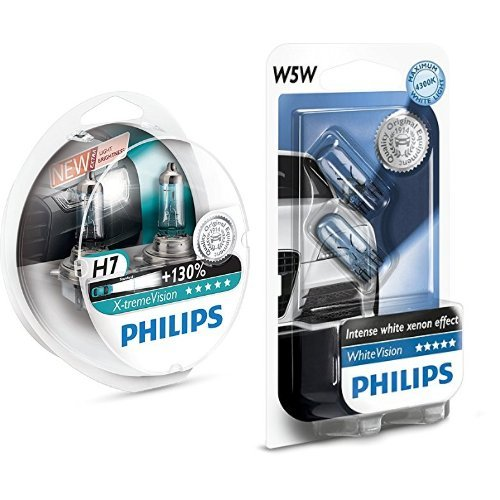 Philips X-tremeVision +130% 12972XV+S2 Scheinwerferlampe, H7, 2er-Set + Philips WhiteVision Xenon-Effekt W5W Scheinwerferlampe 12961NBVB2, Doppelblister, 12V, 5W