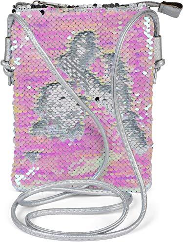 styleBREAKER Mini Bag Umhängetasche mit Wende-Pailletten, Schultertasche, Handtasche, Tasche, Damen 02012240, Farbe:Silber/Perlmutt