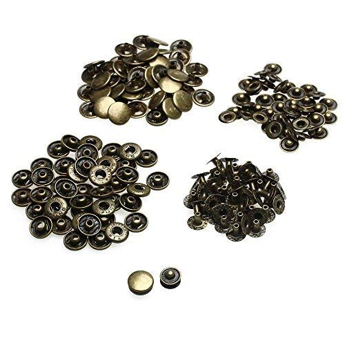 10 X 12.5Mm Bronze Set of Snap Fasteners for Clothing and Accessories - Press Studs for Adding Secure Closure to Jackets, Jeans and Other Sewing Projects - Popper for Clothes Repair