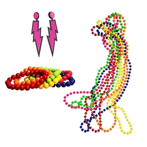 iLoveCos 80er Party Kleid Zubehör Set Kunststoff Neon Ohrringe Mehrfarbig Perlenkette Perlen Halsketten Fluoreszierende Perlen und Neon Perlen-Armbänder (S5)