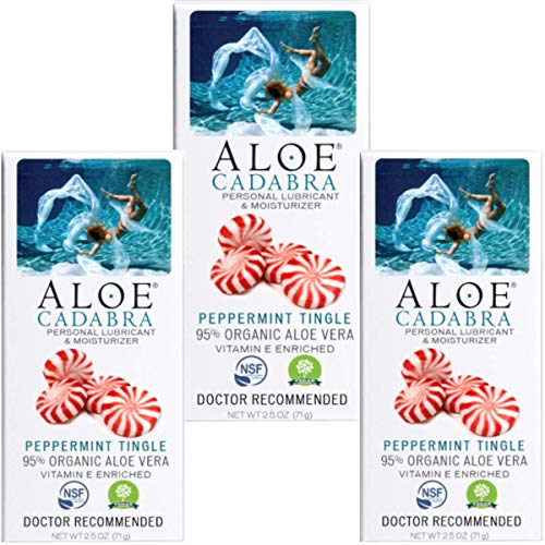 Aloe Cadabra Flavored Personal Lubricant, Best Natural Lube Oral Gel for Her, Him & Couples, Peppermint, 2.5 oz (Pack of 3)