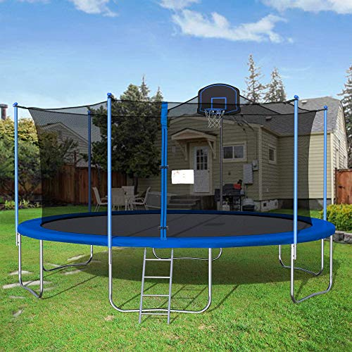 16FT Trampoline with Safety Enclosure Net, Fitness Trampoline,Basketball Hoop, Spring Pad, Ladder, Combo Bounce Jump Trampoline, Outdoor Trampoline for Kids, Adults (Blue)