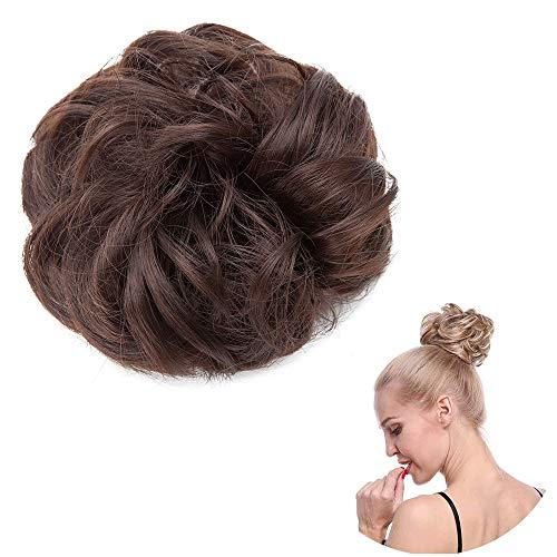 SEGO Chignon Elastico Capelli Finti Posticci Donna Extension Hair Sintetici Ricci Toupet senza Clip Crocchia per Coda Finta 30g - Marrone Castagna