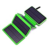 Miady Solar Charger 25000mAh Portable Power Bank with 4 Solar Panels, Waterproof Solar