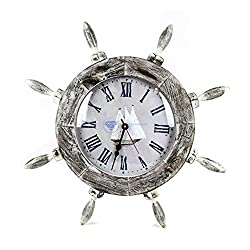 Nagina International 20 Antique Rustic Shabby White Grey Nautical Ship Wheel with Boat Dial Faced Time's Wall Decor Clock - Pirate Nursery Ocean Beach Home Decor Gift