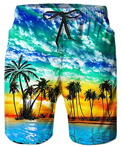 ALISISTER Bañadores de Natación Hombre 3D Árbol de Coco Pantalones Corto Poliéster Secado Rápido Ligero Cielo Azul Swim Trunks XL