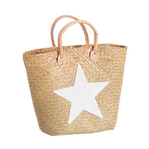 Capazo de Rafia Mediano con Estrella Blanco Moderno Vitta - LOLAhome