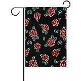 PQU Awesome Rosen Rockabilly Art-Bunte Flaggen-Fahnen für Garten-Willkommens-Dekor 32cmx48cm