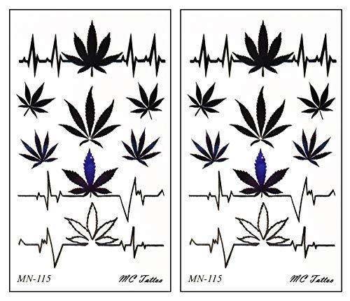 Mini Tattoos 2 Sheets Pot Leaf Marijuana Boho Hippie Retro Weed Heart Pulse Cartoon Temporary Tattoos for Men Women Kids Children's Art Stickers Fun Party Tattoo Fake Body Waterproof (02)