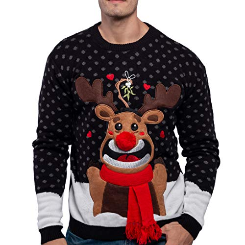JOYIN Men's Christmas Fuzzy Reindeer Ugly Sweater for Holiday or Birthday Gift (Small, Black)