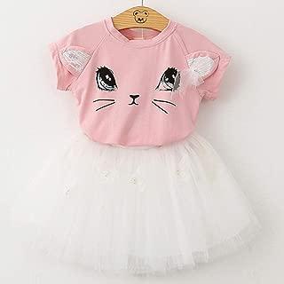 Girls Dress Girl Clothes Summer Style Cat Cartoon Cute Little White Dress Kitten Printed Kids Dresses