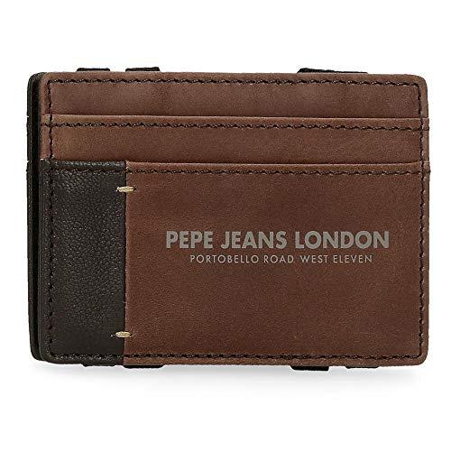 Pepe Jeans Cutted Billetero con tarjetero Marrón 9,5x6,5x1 cms Piel