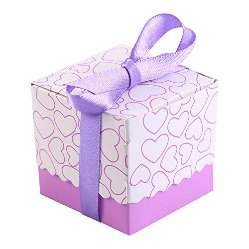 50 stks vierkante vorm geschenkdozen, bruiloft verjaardagsfeestje chocolade snoep suiker geschenkdozen met lint (paars)