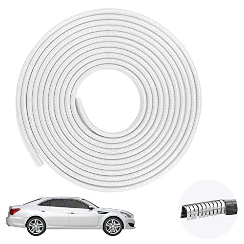 Auto Ebordo gomma,paracolpi portiere auto,Proteggi bordo auto Striscia protezione,Striscia Bordo della Porta Metallici Strisce Adesive,Guarnizione Porta Auto Strisce Adesivee (bianca 5M)