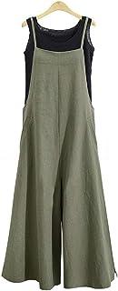 حللا واسعة الساق للنساء وزرات زائد حجم الرسن عارضة بلا أكمام فضفاض واسعة السراويل الطويلة بذلة رومبير (3X، أخضر)