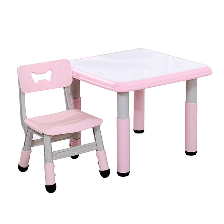 回る法王入植者CJC テーブル テーブルチェアセット、キッズ家具幼児、調節した身長活動机遊び勉強寝室プレイルーム幼稚園 (色 : White+Pink, サイズ さいず : 60*60cm table+1 chair)