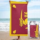 Lsjuee Flag of Sri Lanka Logo Toalla de baño de Microfibra de Secado rápido, sin Arena, Liviana, acampa, TR