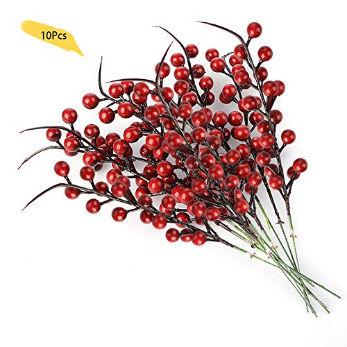 lulalula Künstliche Beeren Fake Mini Holly Berries Simulation Dekorative Früchte, Pflanzen Blumenstrauß Hochzeit Party Favor rot, 10Pcs, 26 cm