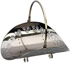 Traditional Vintage Black/Bronze Steel Log Holder Cradle Basket, Decorative Fireside Wood Burner Storage Stand with Carry Handle (Color : Bronze)