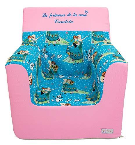 Borda y más Sillón o Asiento Infantil Personalizado de Espuma para bebés y niños. Varios Modelos y Colores Disponibles. (Frozen Turquesa)