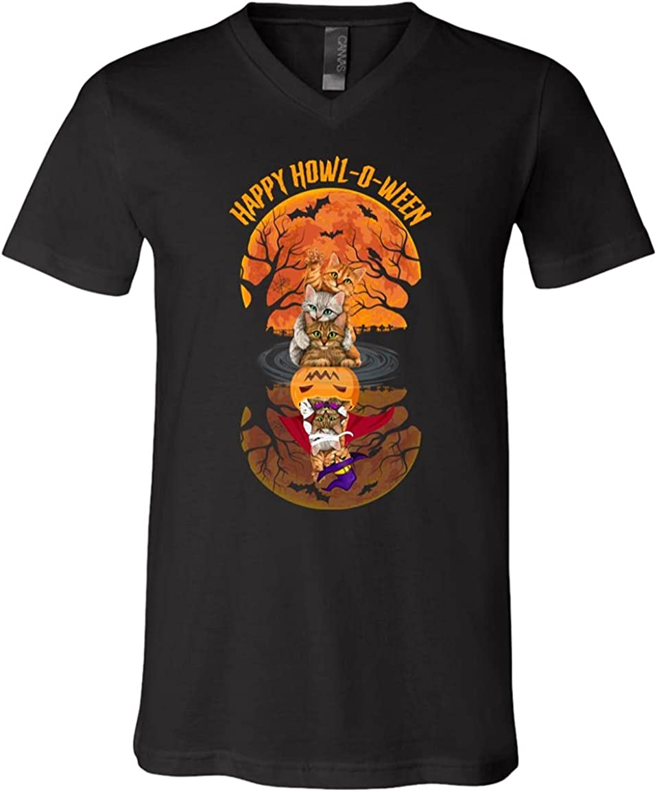 Cat safety Happy Howl-O-Ween Reflection T-Shirt Funny - V-Neck Rapid rise Shirt