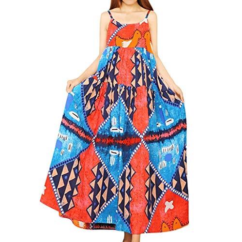 DIPOLA Damen Kleider Print Loose Skirt Frauen Casual ärmelloses Kleid Strandkleid Maxirock Damen Plisseerock Rock Lang Damen Rock Kleid