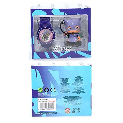 Unbekannt DC Comics Little Mates–Uhr violett für Jungen und Action Figure Cat Woman